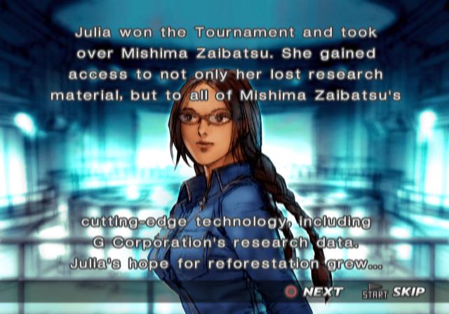 Ending For Tekken 4 Julia Sony Playstation 2