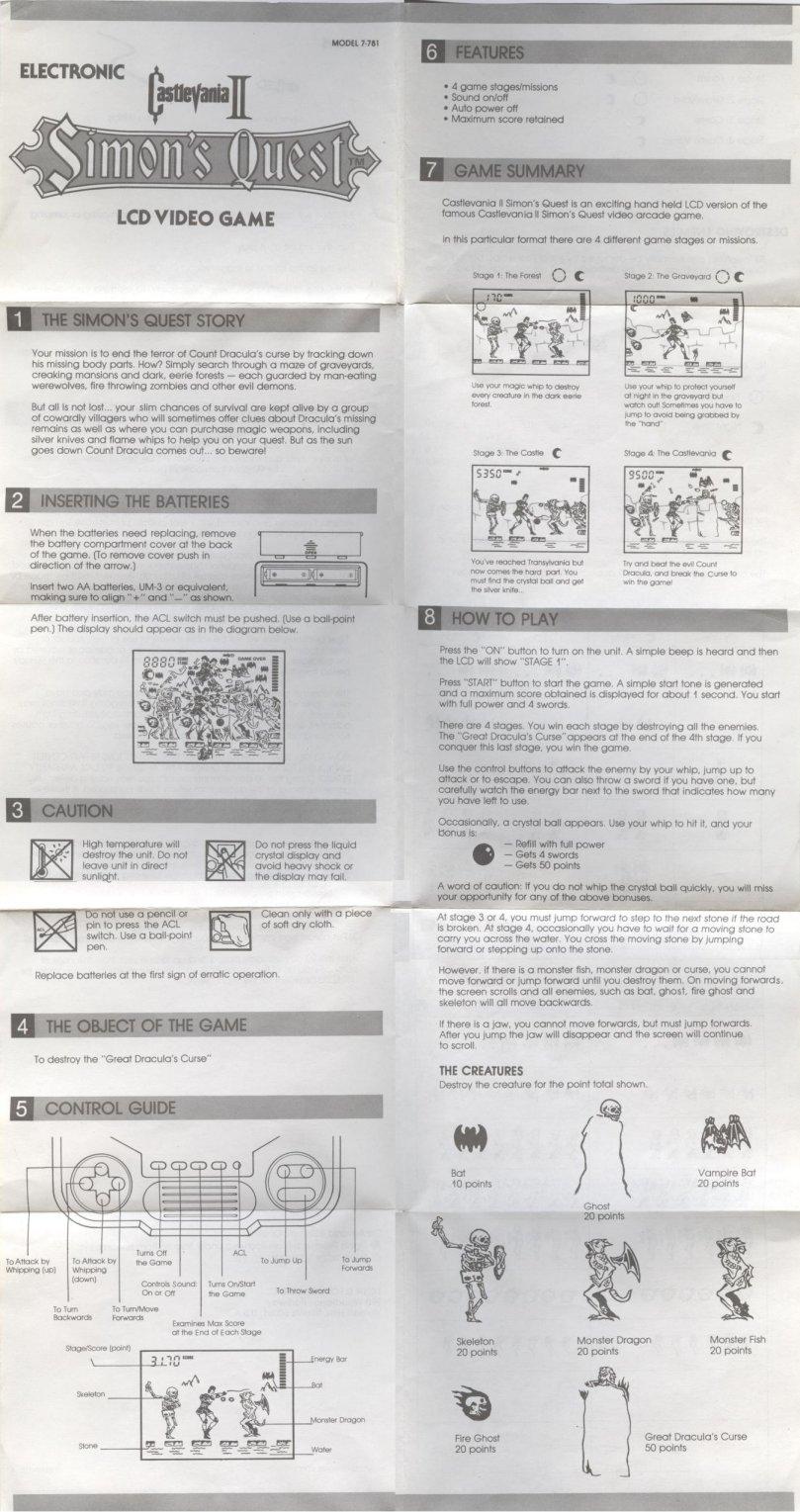 castlevania ii simon s quest tiger handheld rh vgmuseum com Simon's Quest Cartoon Castlevania 2 Simons Quest Online