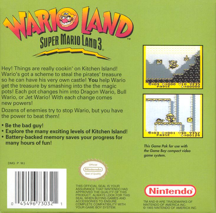Super Mario Land 3 Wario Land (Front) (Back) (Cart)